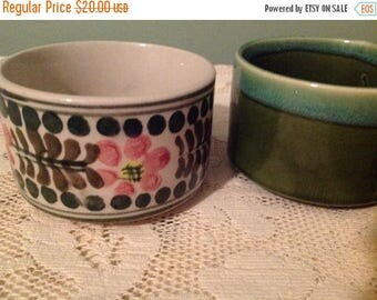 4th of July sale Two Soup Bowls Green and Pink Soup Bowls Japan Ceramic Soup Bowls
