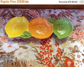Winter Sale Vintage Fruit Shaped Divided Dish Lime Lemon and Orange Three Section Dish