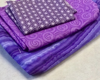 Stash of Fabric for Quilting & Crafts in shades of purple
