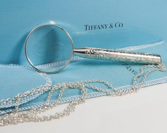 """Tiffany & Co. Magnifying Glass on 30'"""" Chain Sterling Silver Rare and Excellent Condition!"""