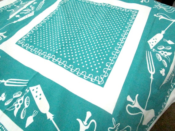 Vintage Tablecloth, Teal and White,  Bar B Q Design, Outdoor Grilling Table Cloth, Summer Dining, Rectangular 54 X 48