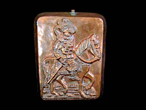 Vintage Copper Mold,  Man on Horse, Copper Kitchen Decor, Old World Kitchen