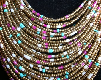 Multi-colored Beaded Necklace and Earring Set