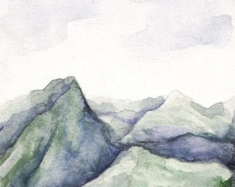 Original 4 x 4 inch watercolor landscape painting by Meredith O'Neal