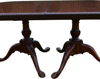 17009 Mahogany Carved Chippendale Custom Dining Table