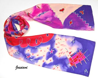 Hand Painted Silk Scarf Made to Order with your favorite colors, Whimsical Magic Abstract Unique Silk Scarf, Jossiani