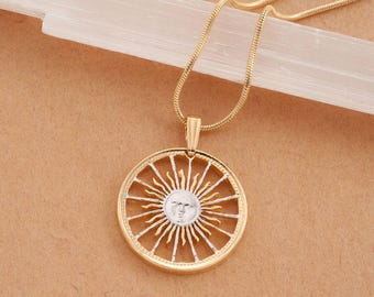"""Sunface Pendant and Necklace, Hand Cut Argentina Coin, 14 K Gold and Rhodium Plated, 7/8"""" in Diameter, ( # 3 )"""