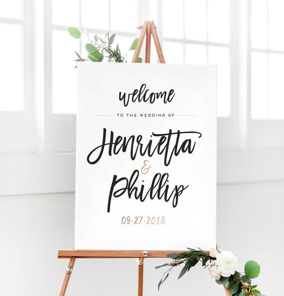 34 Must Have Songs At Your Wedding Reception: Rose Gold Wedding Welcome Sign For Wedding Reception Entrance