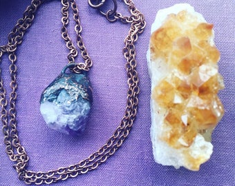 Amethyst point necklace, electroformed amethyst jewelry, crystal jewelry
