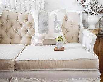 Patchwork pillow, Grain sack pillow, Ticking pillow, Farmhouse pillow, Down feather pillow, Striped pillow, Neutral decor, Farmhouse decor