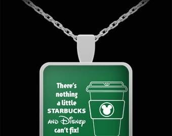 Disney and Starbucks Gift Necklace Disneyland Coffee (Choice of Metal)