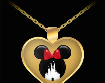 Disney Mickey or Minnie Mouse Castle Love Gift Necklace Disneyland Gold Jewelry
