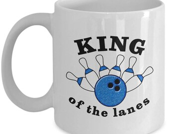 King of the Lanes Funny Bowling Mug Gift for Bowler Ball Bowl Pins Sarcastic Coffee Cup