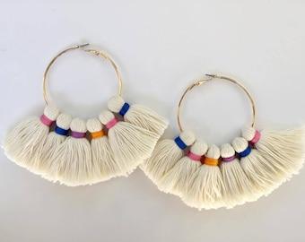 The Flare Wrapped String Multi Color Gold Hoop Tassel Earrings