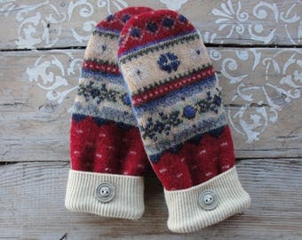 Red, Blue and Yellow Wool Ski Sweater Mittens with Buttons