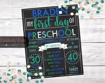 First Day of School Chalkboard / Printable / Chalkboard Sign / Personalized / Preschool / Kindergarten / Photo Prop / School Sign / Boy