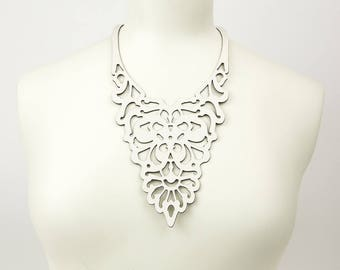 """Laser cut leather necklace """"Victoriana"""""""