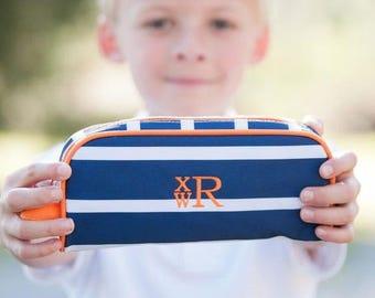 Boys Pencil Pouch Blue Orange Stripes