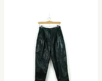 ON SALE Vintage Dark Green Soft Lamb Leather High waist tapered Pants from 1980's/W25*