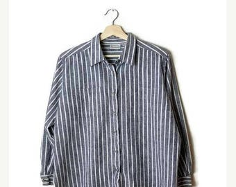 ON SALE Vintage Grey x White  Stripe Cotton/Linen Long Sleeve  Blouse from 90's *