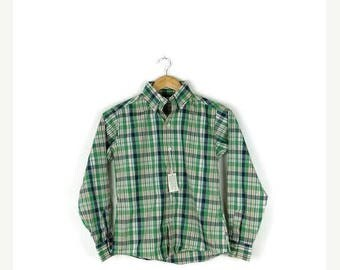 ON SALE Vintage Green Plaid Cotton Long Sleeve Blouse from 80's*