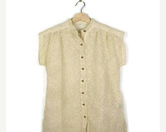 ON SALE Vintage Cream White Cotton Crochet Short sleeve Blouse from 70's*