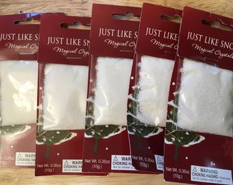 Fake Snow Packets for Crafting and Decor, Just Like Snow Magic Crystals Packs, Faux Snow Christmas Winter Decor