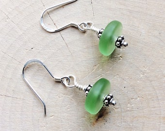 Sterling Silver Peridot Sea Glass Earrings