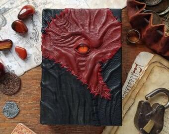 Red Necronomicon book, handmade leather journal, dark goth sketchbook, strange creepy book of shadows, larp fantasy grimoire, pagan notebook