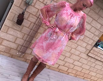 Vintage 70s Gossamer Dress Floral Chiffon Split Sleeves Medium