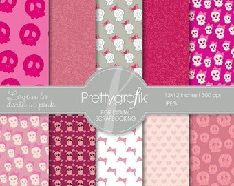 80% OFF SALE cute skulls digital paper, commercial use, scrapbook papers, background  - PS533
