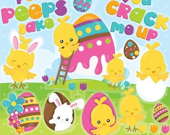 80% OFF SALE Easter clipart commercial use, easter peeps vector graphics, easter chicks digital clip art, digital images  - CL949