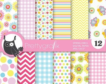 80% OFF SALE Spring owls digital paper, commercial use, scrapbook papers, background  - PS700