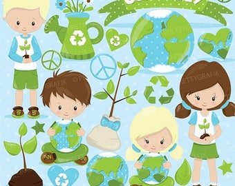 80% OFF SALE Earth day clipart commercial use, earth day kids vector graphics, digital clip art, digital images  - CL826