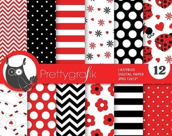 80% OFF SALE Ladybug digital papers, commercial use, scrapbook papers, background - PS687