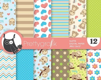 80% OFF SALE Sloth digital paper, commercial use, scrapbook papers, background chevron, stripes - PS855