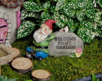 Attractive Miniature Gnome Fairy Garden Accessory, Welcome To My Garden Sign, Gnome  Garden Accessories,