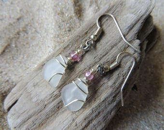Handmade Natural Authentic White Sea Glass Earrings Wire Wrapped with Pink Accents