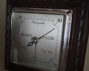 Vintage Oak  Aneroid Barometer