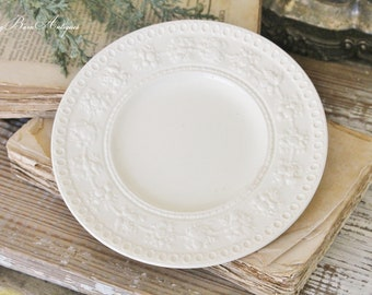 Antique White Ironstone Plate WEDGEWOOD ENGLISH  Farmhouse Decor Fixer Upper Decor