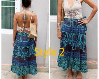Bohemian Indian Wrap Maxi Skirts. Sky Blue and Blue Indian Print. Two Styles.