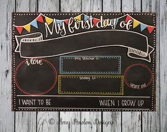 Hand-painted first day of school chalkboard
