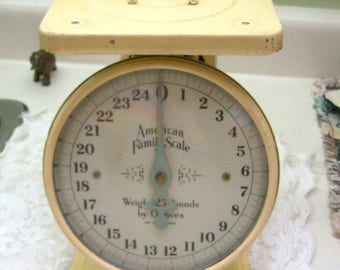 """Vintage """"American Family Scale""""....Weighs 25 Pounds By Ounces Metal Kitchen Scale...Family Heirloom Scale...General Store Scale"""