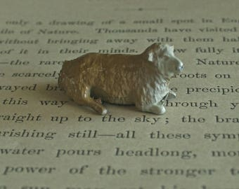 Vintage Miniature Painted Lead Taylor & Barrett Hollow Cast Laying Down Sheep, 1930s, Collectible Lead Sheep