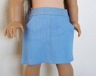 Light Wash Denim Skirt for American Girl Dolls by The Glam Doll