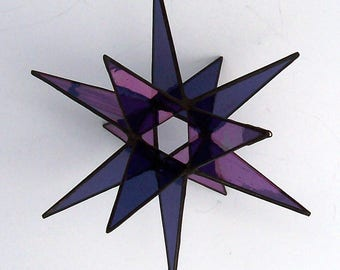 Hanging Moravian Star, Sun Catcher, Stained Glass 3D Star, Small Iridescent Purple Star, Christmas Star Ornament, 12 Point Stars, X'mas Gift