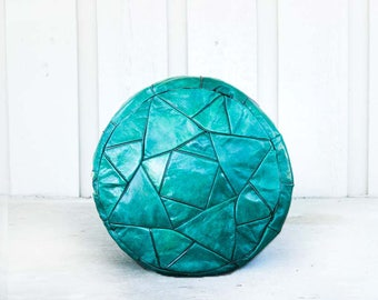 Shiny Turquoise Egyptian Handmade Genuine Leather Ottoman Pouf