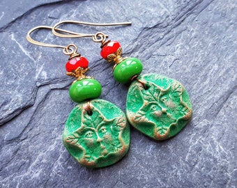 Winter Green Man / Wood Sprite earrings.