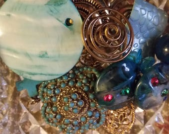 Vintage Turquoise and Gold Mix Baubles Jewelry Destash Inspiration Upcycle Mix Lot