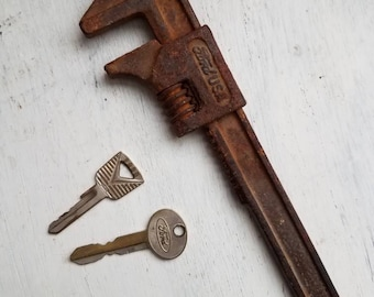 Vintage Rusty Ford Adjustable Wrench and 2 Ford Keys
